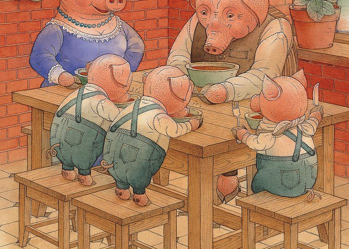 Animals Pig Kitchen Food Family Greeting Card featuring the painting Pigs by Kestutis Kasparavicius