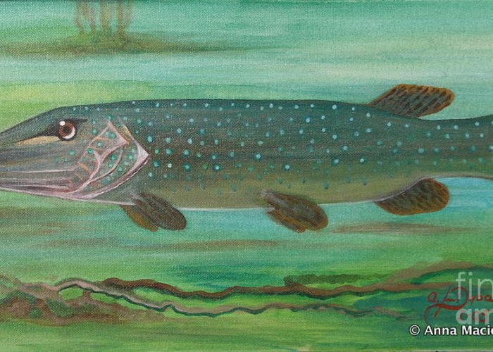 Folkartanna Greeting Card featuring the painting Pike by Anna Folkartanna Maciejewska-Dyba