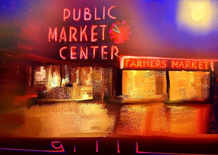 Seattle Greeting Card featuring the painting Pike Place Market by Lee Gallaher