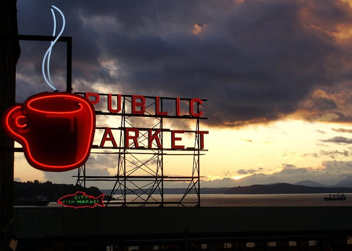 Abstract Greeting Card featuring the photograph Pike Place Market by Sonja Anderson