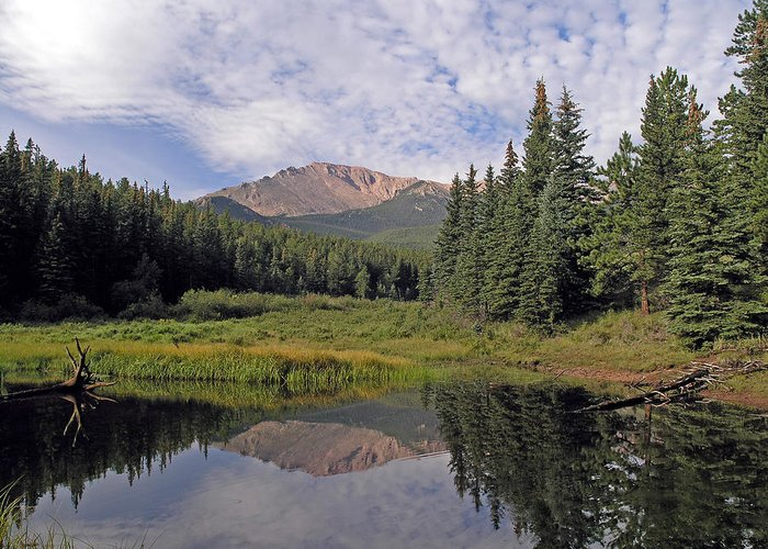 Pikes Peak Greeting Card featuring the photograph Pikes Peak Reflection by Vicki Reinke