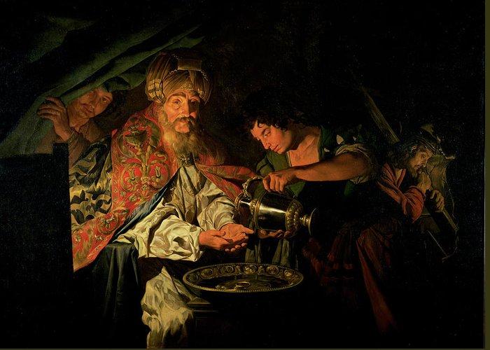 Pilate Washing His Hands Greeting Card featuring the painting Pilate Washing His Hands by Stomer Matthias