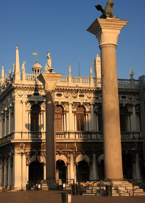 Venice Greeting Card featuring the photograph Pillars At Piazzetta San Marco In Venice by Michael Henderson