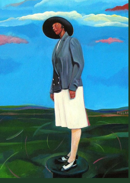 Woman Greeting Card featuring the painting Pillars Series Florence In Black Hat by Joyce Owens