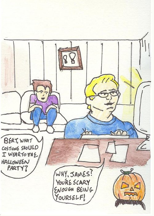 Watercolor Greeting Card featuring the mixed media Pilots Lounge Halloween by JD Moores
