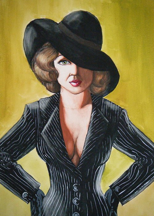 Gouache Greeting Card featuring the painting Pin Stripes and an Attitude by Scarlett Royal