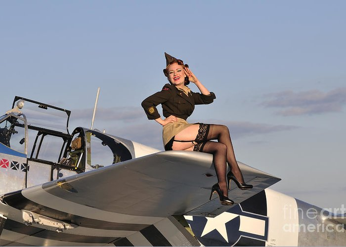 Pin-up Girls Greeting Card featuring the photograph Pin-up Girl Sitting On The Wing by Christian Kieffer