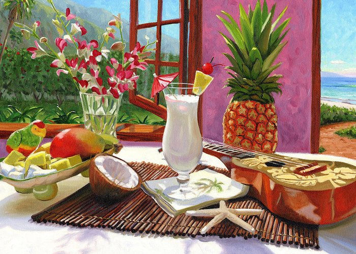 Pina Colada Greeting Card featuring the painting Pina Colada by Steve Simon