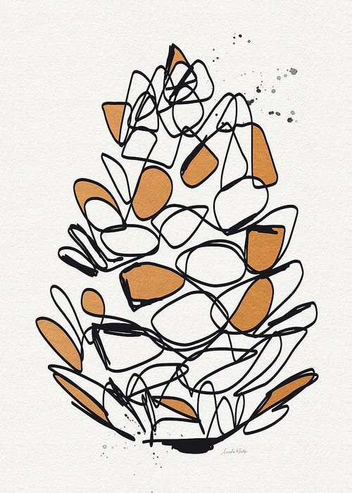 Pine Cones Mixed Media Greeting Cards