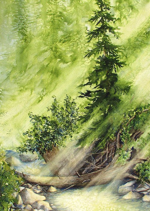 Nature Greeting Card featuring the painting Pine Creek by Connie Williams