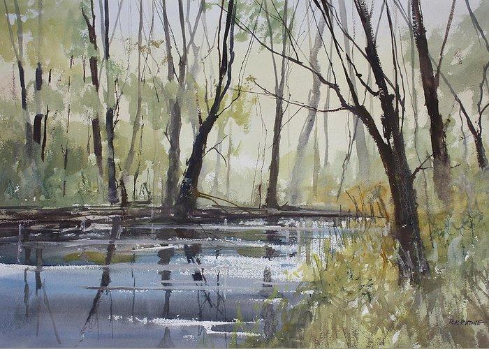 Ryan Radke Greeting Card featuring the painting Pine River Reflections by Ryan Radke