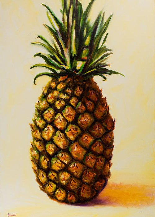 Pineapple Greeting Card featuring the painting Pineapple Angel by Shannon Grissom