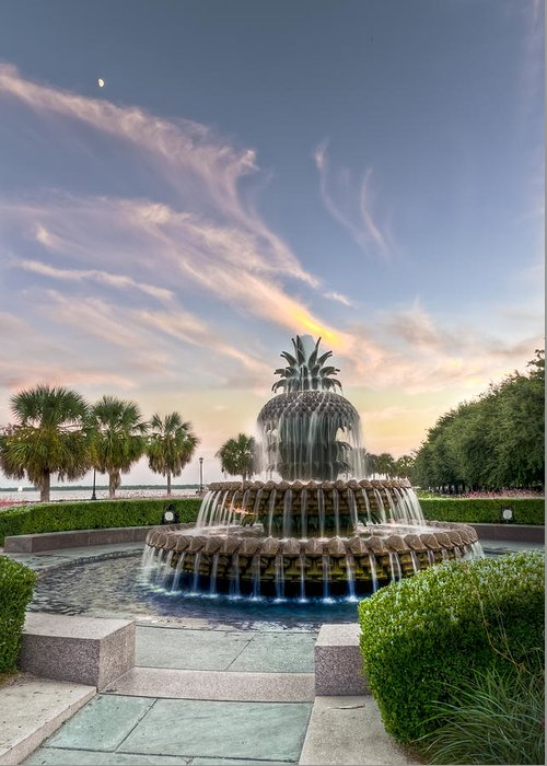 Architectural Greeting Card featuring the photograph Pineapple Fountain Sunset - Charleston Sc by Drew Castelhano