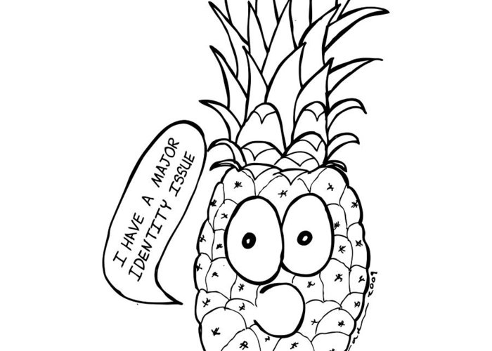 Drawing Greeting Card featuring the drawing Pineapple Issue by Karl Addison