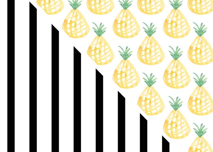 Pineapple Greeting Card featuring the mixed media Pineapples and Stripes by Linda Woods