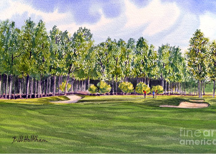 Golf Greeting Card featuring the painting Pinehurst Golf Course 17th Hole by Bill Holkham