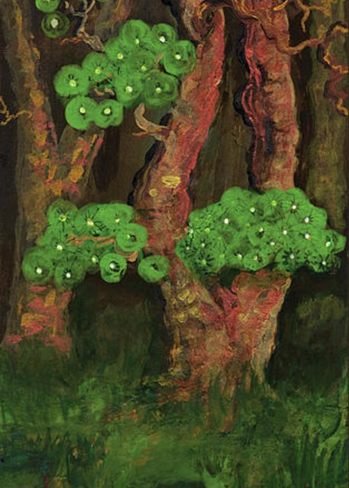 Painting Greeting Card featuring the painting Pines By The Brook by Anna Folkartanna Maciejewska-Dyba
