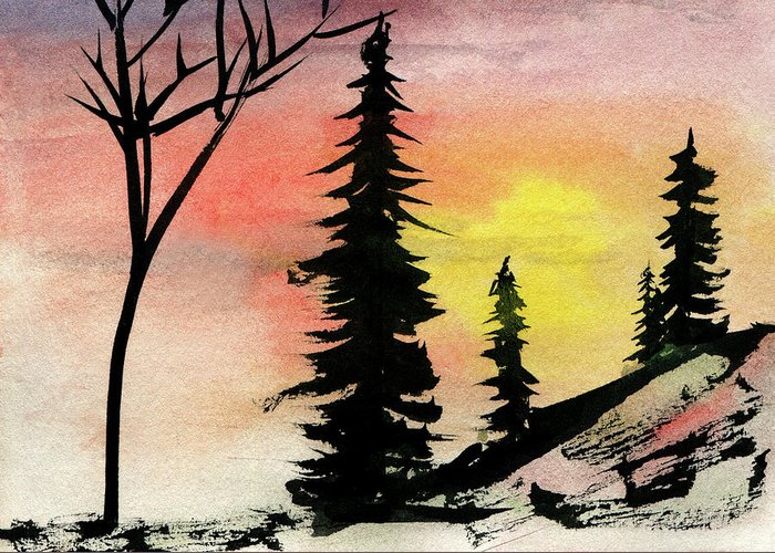Sunset Rock Pine Rocks Tree Landscape Sky Nature Trees Picture Beautiful Sun Stone Scene Pines View Kyllo Silhouette Tranquil Sunrise Season Rocky Red Ink Wash High Granite Golden Evening Day Yellow Winter Wilderness Wild Western West Watercolor Wallpaper Wall Art Trunk Terrain Sunshine Sunny Sunlight Summit Stony Stones Silhouettes Silence Shine Rest Quiet Pink Peaceful Peace Outside Outdoors Outdoor Orange Northern Lonely Hill Dawn Calm Alpine Greeting Card featuring the mixed media Pines In Rocks by R Kyllo