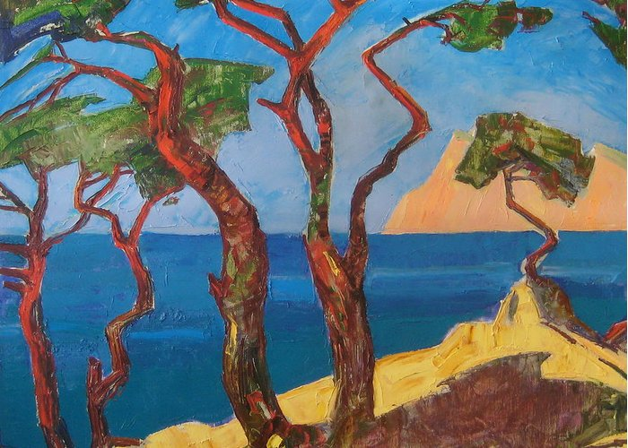 Landscape Greeting Card featuring the painting Pines Of The Silver Beach by Sergey Ignatenko