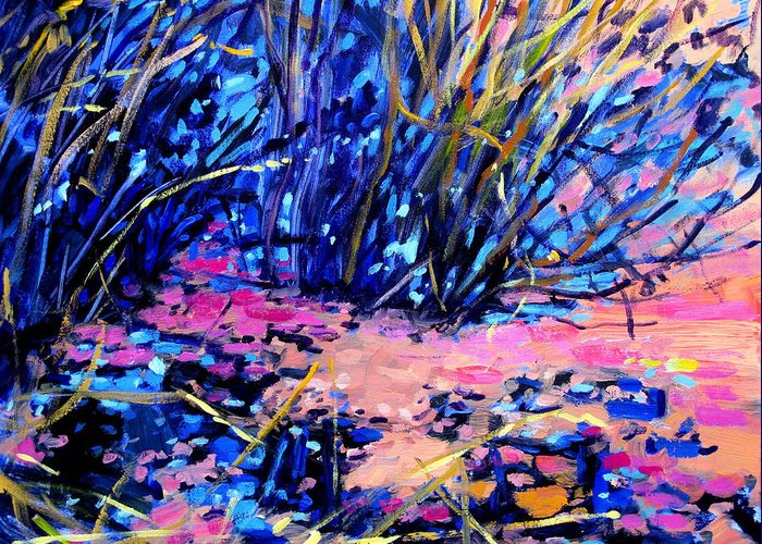 Pond Paintings Greeting Card featuring the painting Pink Algae by Brian Simons