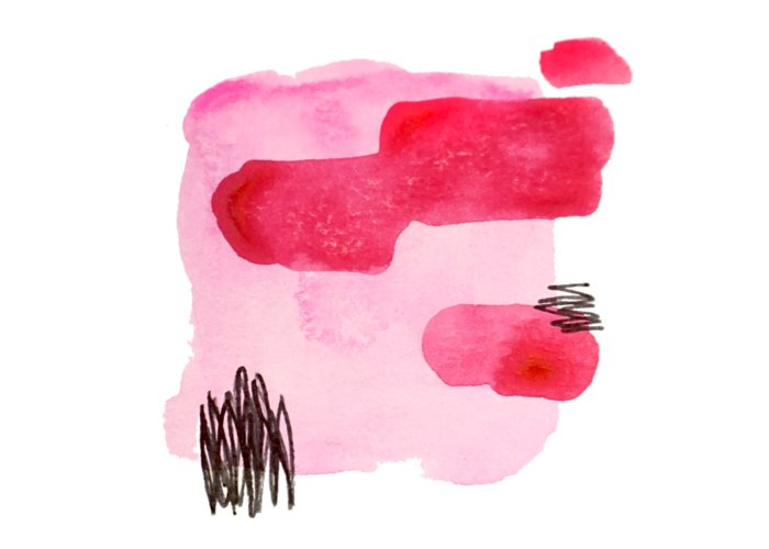 Minimalist Greeting Card featuring the painting Pink And Black Abstract by Cortney Herron