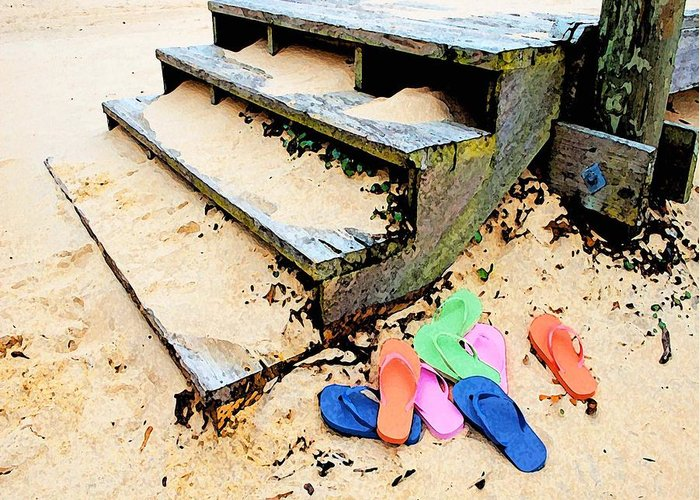 Alabama Pelican Greeting Card featuring the digital art Pink And Blue Flip Flops By The Steps by Michael Thomas