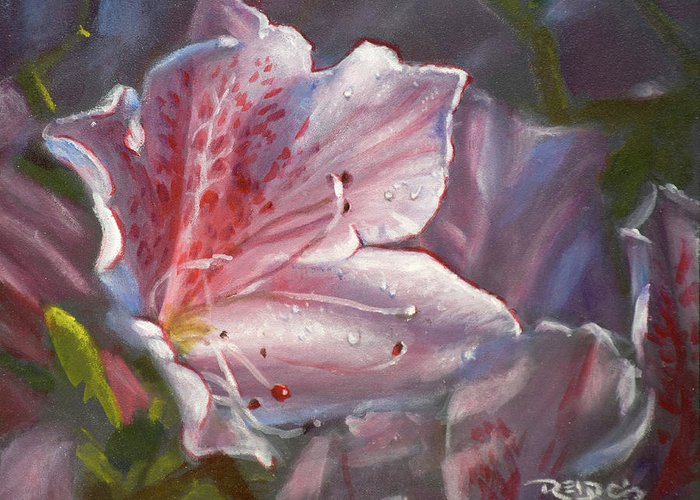 Acrylic Greeting Card featuring the painting Pink Azalea by Christopher Reid