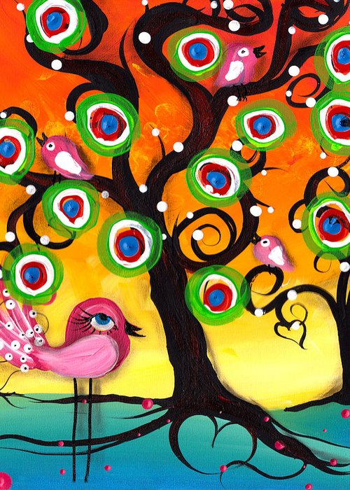 Abril Andrade Greeting Card featuring the painting Pink Birds On A Tree by Abril Andrade Griffith