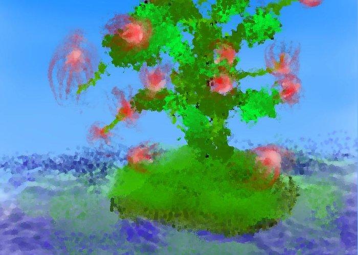 Landscape.sea.birds.island.sky.tree .rest Stop.wave.wind. Greeting Card featuring the digital art Pink Birds Ongreen Island by Dr Loifer Vladimir