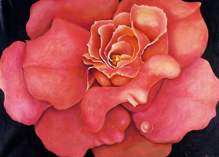 Rose.bloom Greeting Card featuring the painting Pink Blush by Jordana Sands
