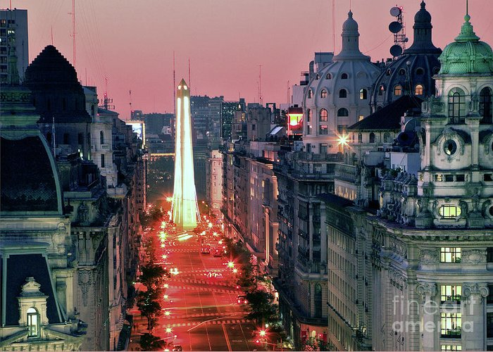 Pink Greeting Card featuring the photograph Pink Buenos Aires by Bernardo Galmarini