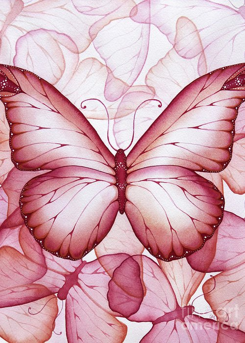 Pink Greeting Card featuring the painting Pink Butterflies by Christina Meeusen