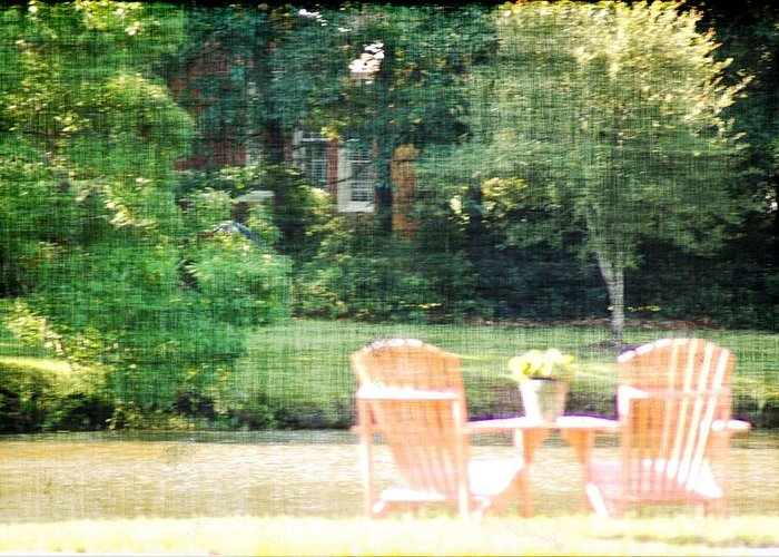 Chairs Greeting Card featuring the photograph Pink Chairs by Donna Bentley