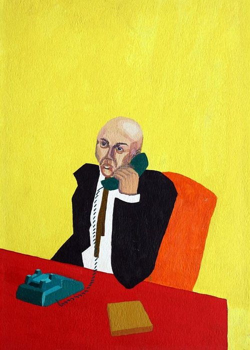 Office Greeting Card featuring the painting Pink Collar Man by Sheri Buchheit