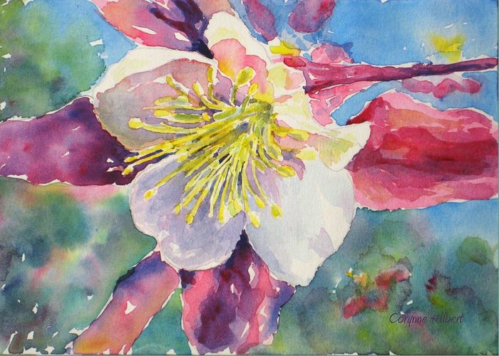 Pink Greeting Card featuring the painting Pink Columbine by Corynne Hilbert