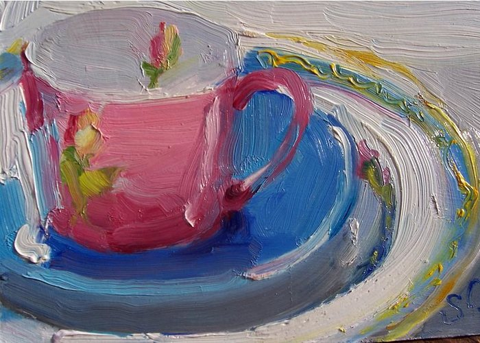 Still Life Greeting Card featuring the painting Pink Cup by Susan Jenkins