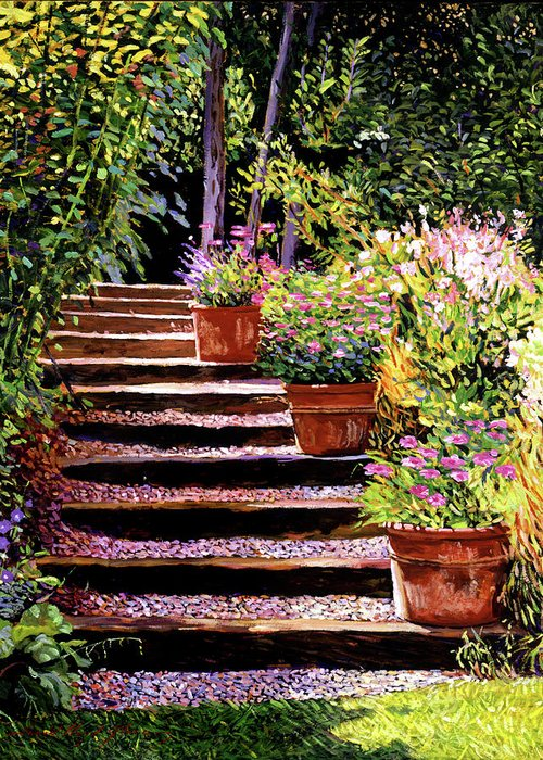 Gardens Greeting Card featuring the painting Pink Daisies Wooden Steps by David Lloyd Glover