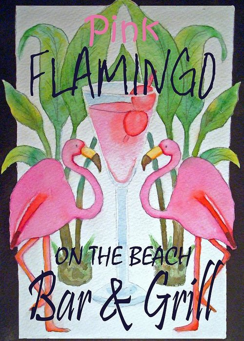 Pink. Flamingo Greeting Card featuring the painting Pink Flamingos On The Beach Bar and Grill by Kerra Lindsey