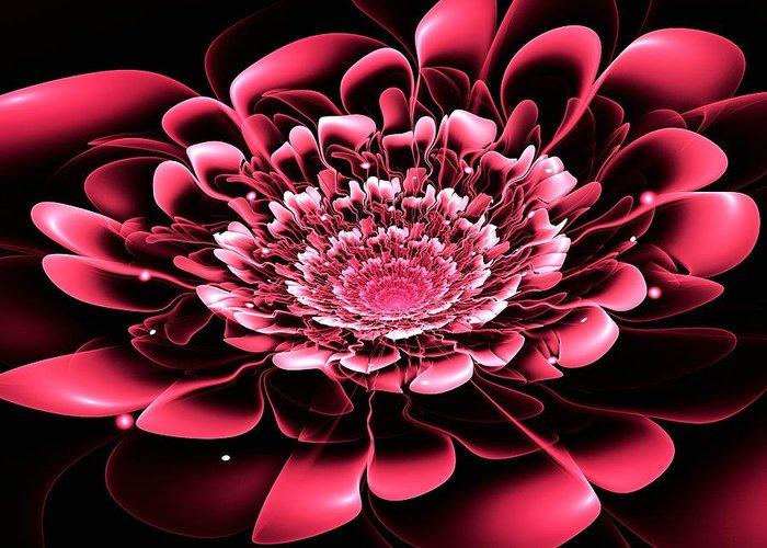 Flower Greeting Card featuring the digital art Pink Flower by Anastasiya Malakhova