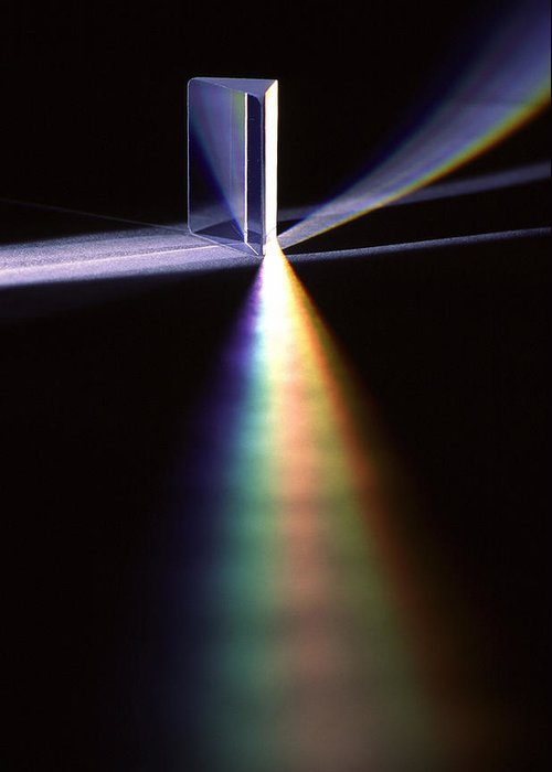 Pink Floyd; Glass; Prism; Light; Refract; Refraction; Refracting; Color; Colors; Spectrum; Optic; Optics; Photon; Photons; Physics; Science Greeting Card featuring the photograph Pink Floyd Physics by Gerard Fritz