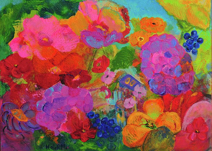 Floral Painting Greeting Card featuring the painting Pink Garden Fantansy by Haleh Mahbod