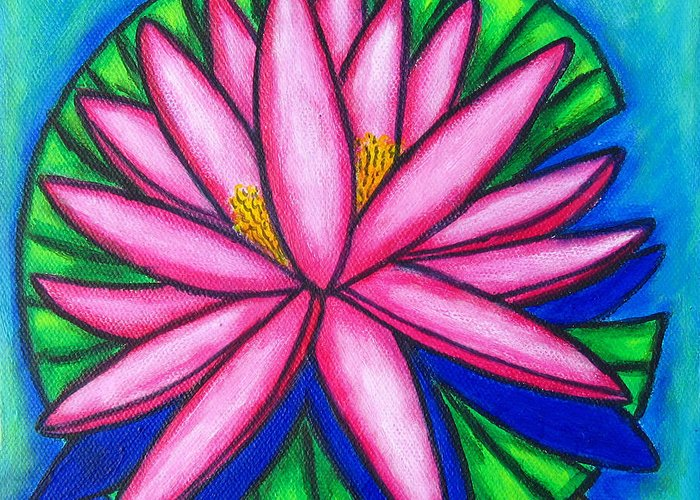 Water Lilies Greeting Card featuring the painting Pink Gem 2 by Lisa Lorenz