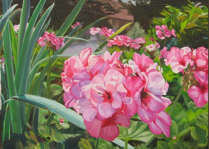 Pink Geraniums Greeting Card featuring the painting Pink Geraniums by Lea Novak
