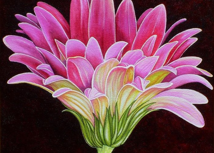 Acrylic Greeting Card featuring the painting Pink Gerbera Daisy by Carol Sabo