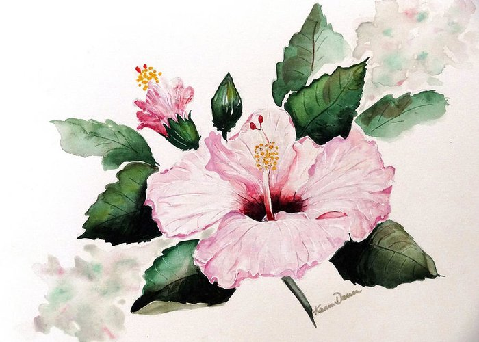 Hibiscus Painting  Floral Painting Flower Pink Hibiscus Tropical Bloom Caribbean Painting Greeting Card featuring the painting Pink Hibiscus by Karin Dawn Kelshall- Best