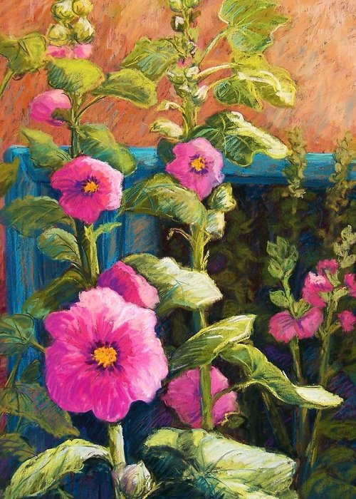 Flowers Greeting Card featuring the pastel Pink Hollyhocks by Candy Mayer
