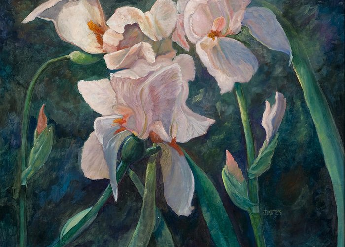 Floral Greeting Card featuring the painting Pink Iris by Jimmie Trotter