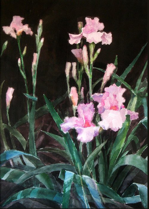 Watercolor Greeting Card featuring the painting Pink Irises by Bill Meeker