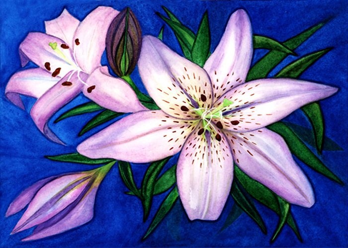Lilies Greeting Card featuring the painting Pink Lilies by Stephanie Jolley