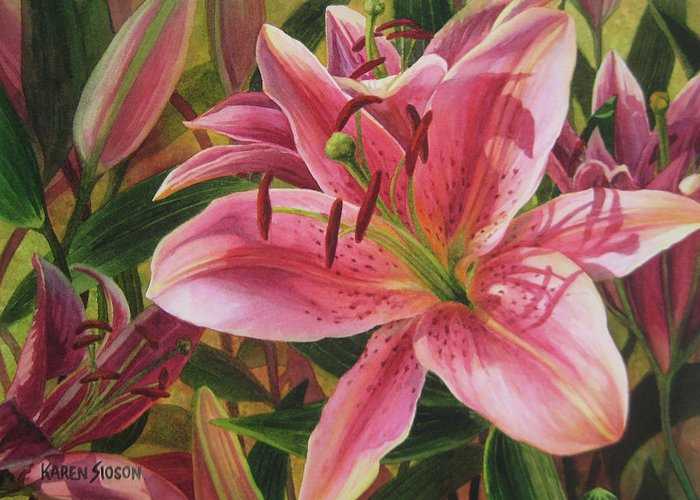 Watercolor Florals Greeting Card featuring the painting Pink Liliums by Karen Sioson